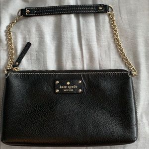 Black leather Kate Spade Chain Shoulder Bag